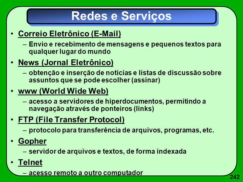 242 Redes e Serviços Correio Eletrônico (E-Mail) –Envio e recebimento de mensagens e pequenos textos para qualquer lugar do mundo News (Jornal Eletrôn