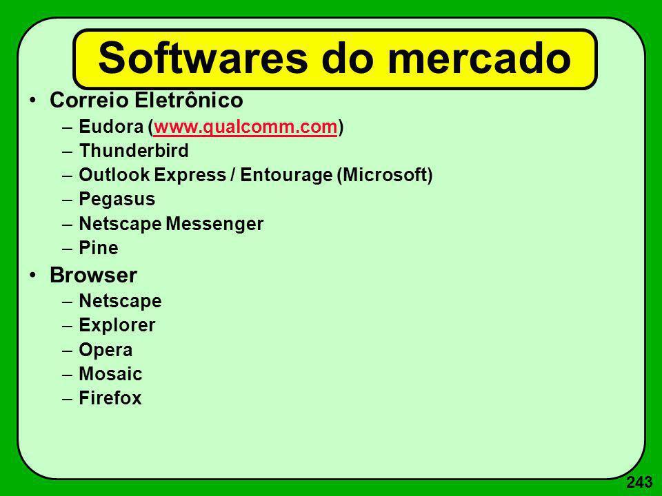 243 Softwares do mercado Correio Eletrônico –Eudora (www.qualcomm.com)www.qualcomm.com –Thunderbird –Outlook Express / Entourage (Microsoft) –Pegasus