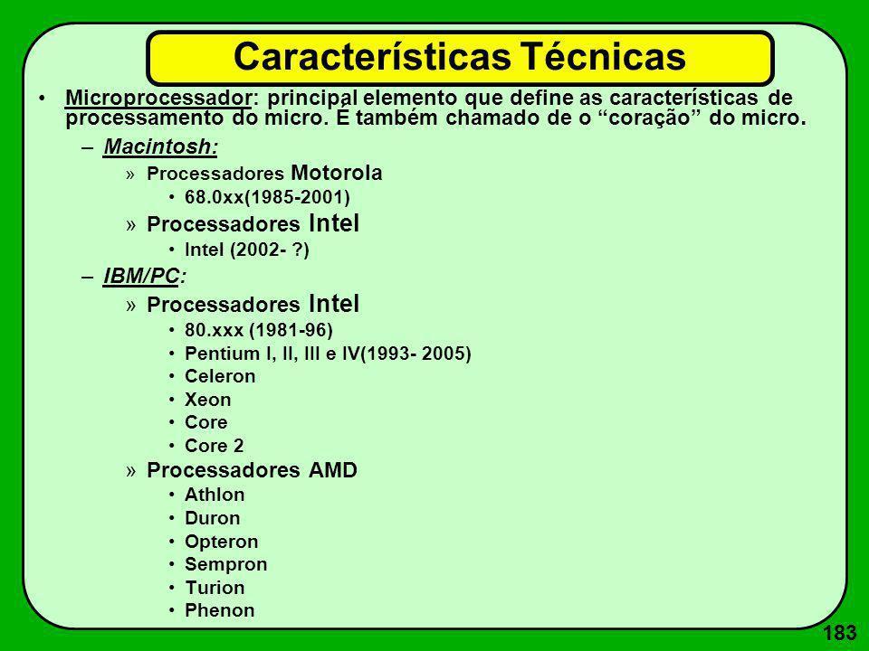 184 Padrões de Vídeo (para IBM/PC) –CGA (Computer Graphics Adapter) –HERCULES –VGA (Video Graphics Array) –EGA (Enhanced Graphics Array) –XGA (eXtended Graphics Array) –SVGA (Super VGA) Características Técnicas (cont.)