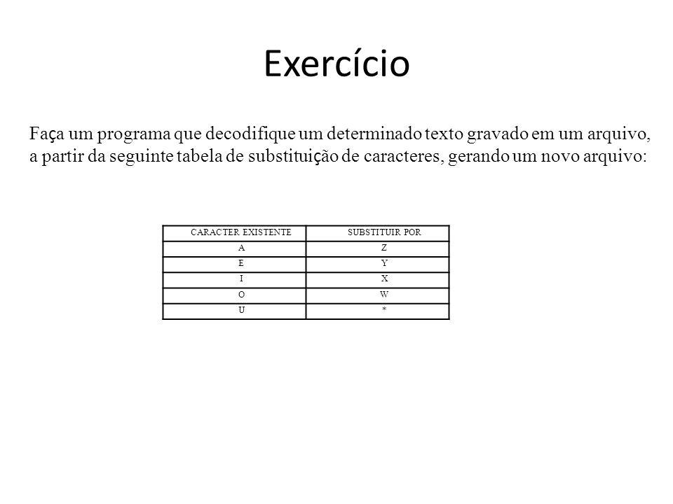 Exercício CARACTER EXISTENTESUBSTITUIR POR AZ EY IX OW U* Fa ç a um programa que decodifique um determinado texto gravado em um arquivo, a partir da s