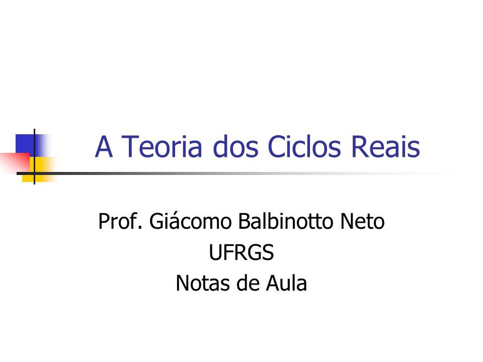 A Teoria dos Ciclos Reais Prof. Giácomo Balbinotto Neto UFRGS Notas de Aula