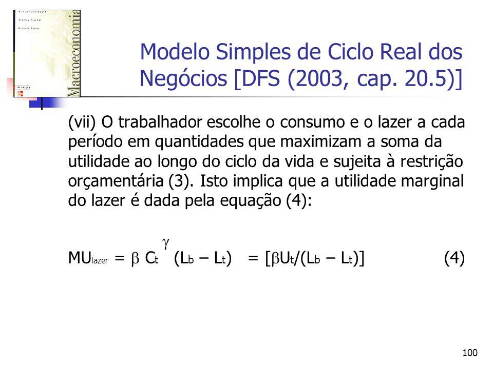 100 Modelo Simples de Ciclo Real dos Negócios [DFS (2003, cap. 20.5)] (vii) O trabalhador escolhe o consumo e o lazer a cada período em quantidades qu