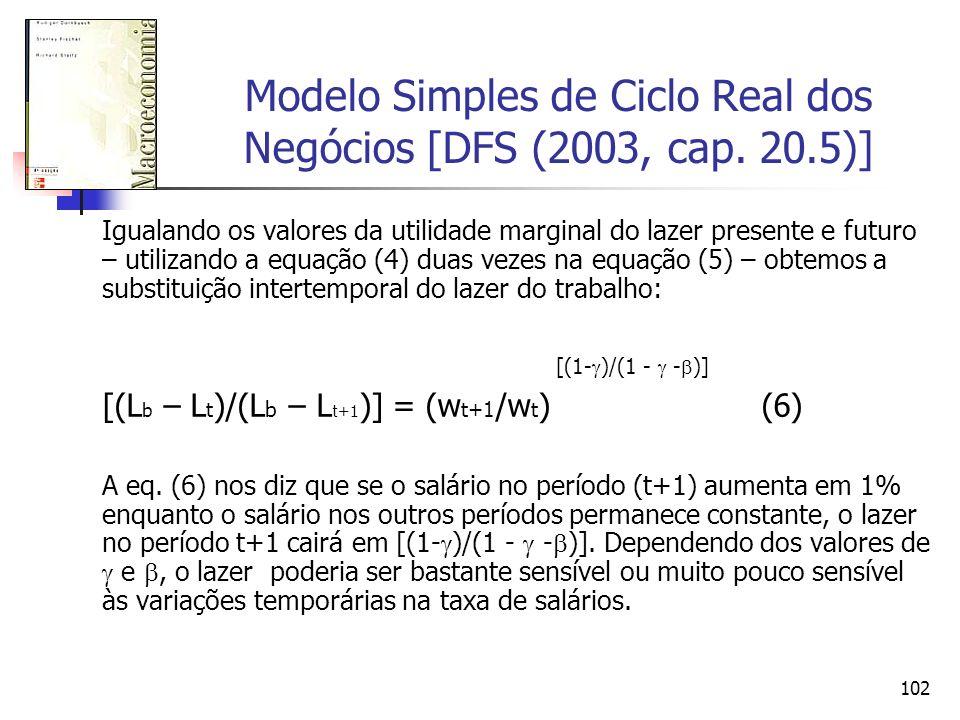 102 Modelo Simples de Ciclo Real dos Negócios [DFS (2003, cap. 20.5)] Igualando os valores da utilidade marginal do lazer presente e futuro – utilizan