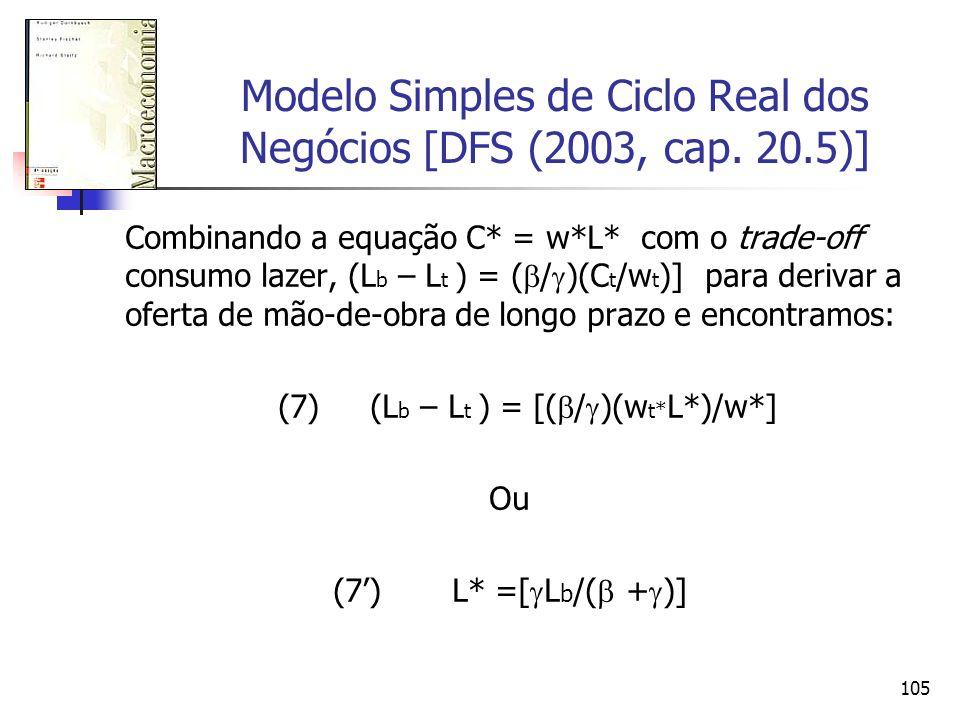 105 Modelo Simples de Ciclo Real dos Negócios [DFS (2003, cap. 20.5)] Combinando a equação C* = w*L* com o trade-off consumo lazer, (L b – L t ) = ( /