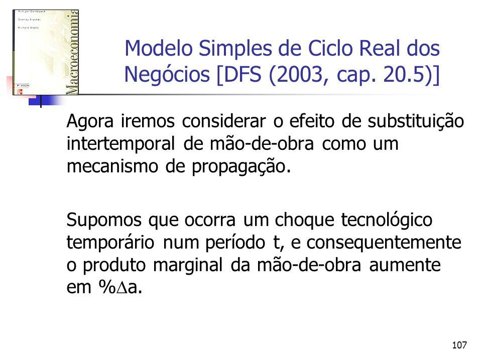 107 Modelo Simples de Ciclo Real dos Negócios [DFS (2003, cap. 20.5)] Agora iremos considerar o efeito de substituição intertemporal de mão-de-obra co