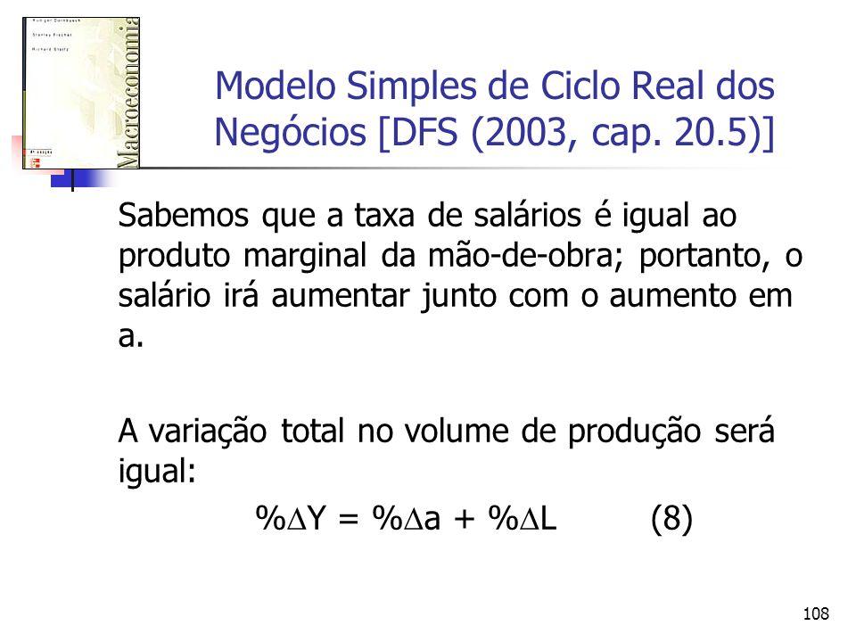 108 Modelo Simples de Ciclo Real dos Negócios [DFS (2003, cap. 20.5)] Sabemos que a taxa de salários é igual ao produto marginal da mão-de-obra; porta