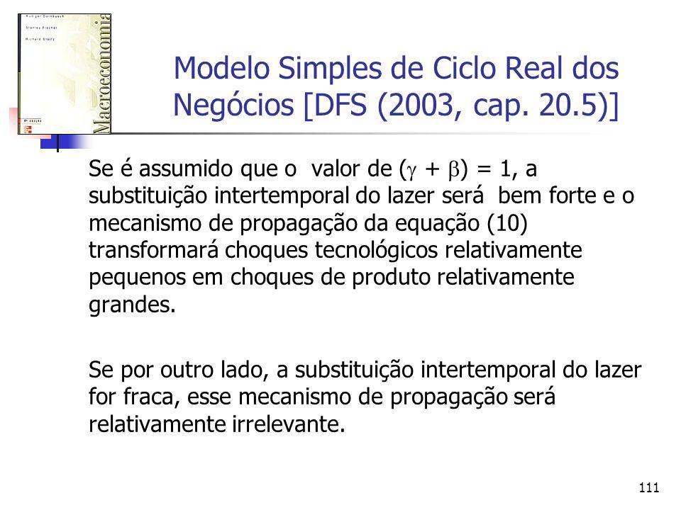 111 Modelo Simples de Ciclo Real dos Negócios [DFS (2003, cap. 20.5)] Se é assumido que o valor de ( + ) = 1, a substituição intertemporal do lazer se