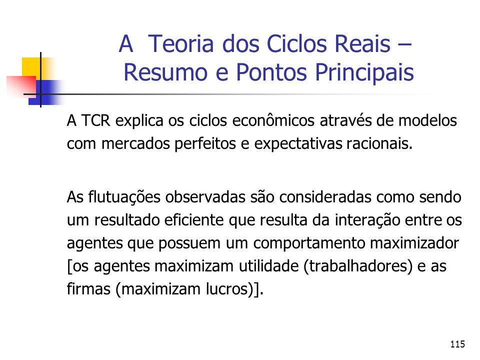 115 A Teoria dos Ciclos Reais – Resumo e Pontos Principais A TCR explica os ciclos econômicos através de modelos com mercados perfeitos e expectativas
