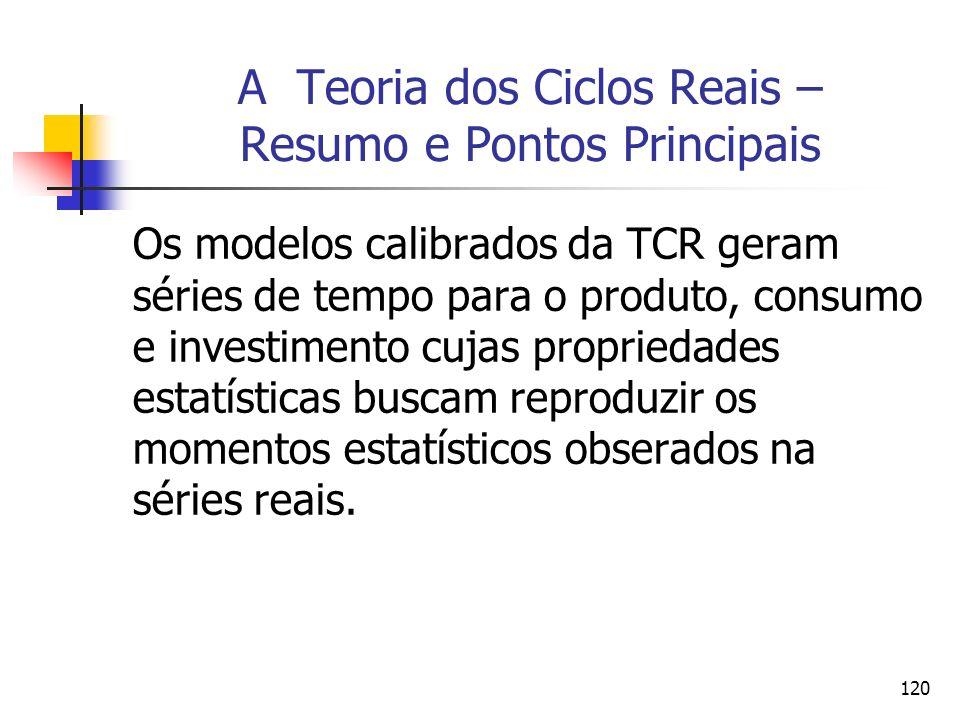 120 A Teoria dos Ciclos Reais – Resumo e Pontos Principais Os modelos calibrados da TCR geram séries de tempo para o produto, consumo e investimento c