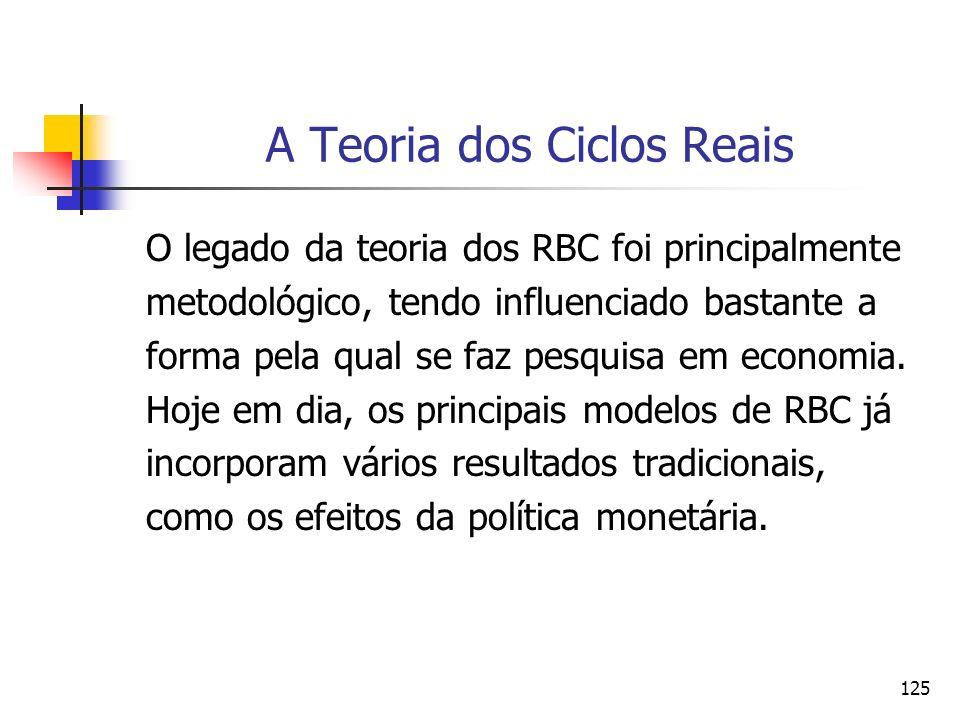 125 A Teoria dos Ciclos Reais O legado da teoria dos RBC foi principalmente metodológico, tendo influenciado bastante a forma pela qual se faz pesquis