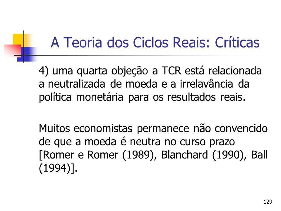 129 A Teoria dos Ciclos Reais: Críticas 4) uma quarta objeção a TCR está relacionada a neutralizada de moeda e a irrelavância da política monetária pa