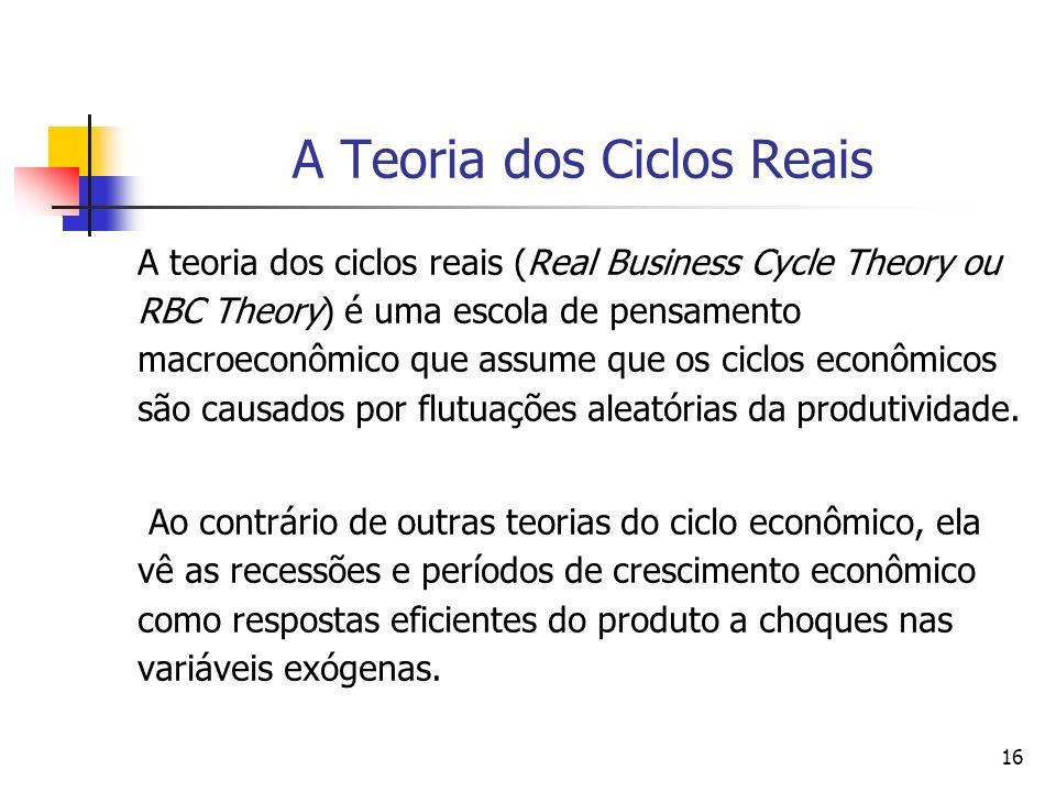 16 A Teoria dos Ciclos Reais A teoria dos ciclos reais (Real Business Cycle Theory ou RBC Theory) é uma escola de pensamento macroeconômico que assume