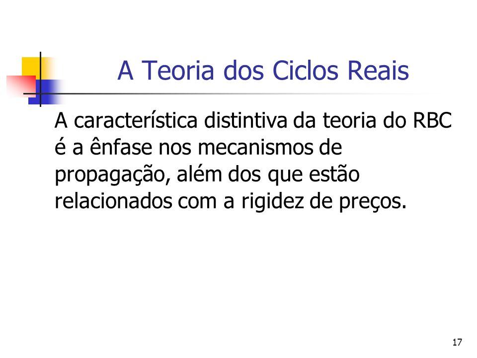 17 A Teoria dos Ciclos Reais A característica distintiva da teoria do RBC é a ênfase nos mecanismos de propagação, além dos que estão relacionados com