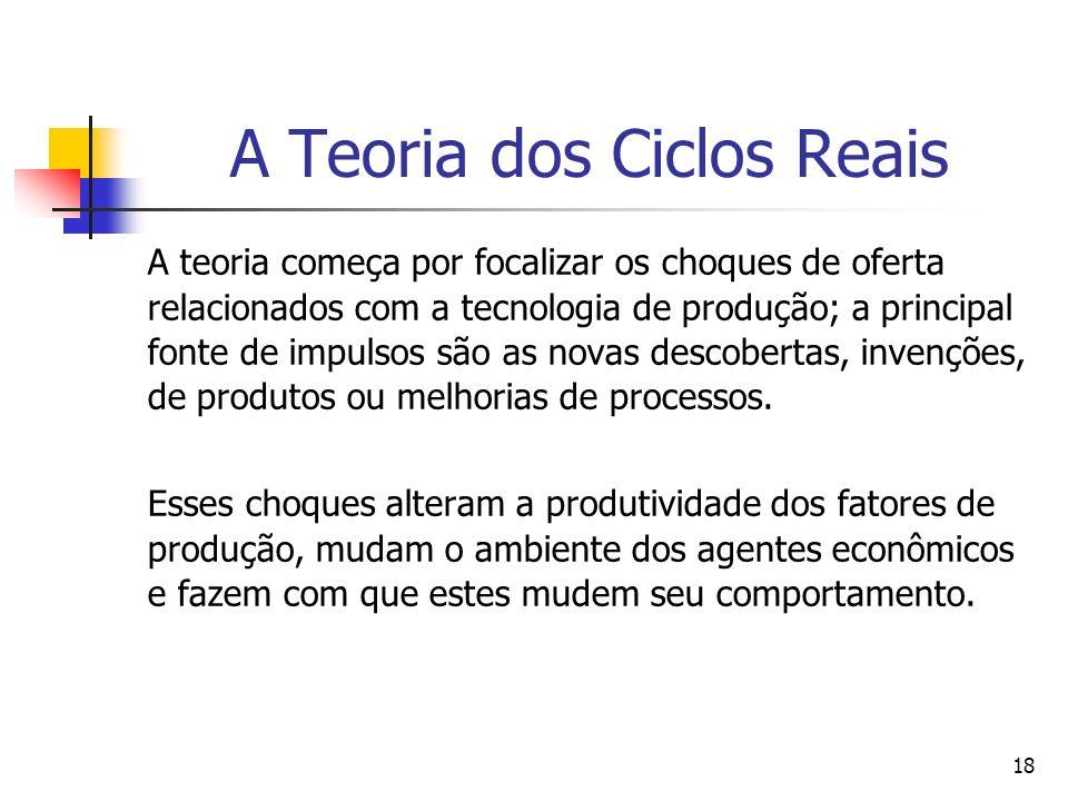 18 A Teoria dos Ciclos Reais A teoria começa por focalizar os choques de oferta relacionados com a tecnologia de produção; a principal fonte de impuls
