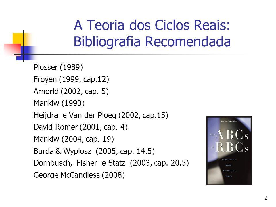 2 A Teoria dos Ciclos Reais: Bibliografia Recomendada Plosser (1989) Froyen (1999, cap.12) Arnorld (2002, cap. 5) Mankiw (1990) Heijdra e Van der Ploe