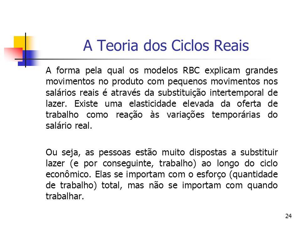 24 A Teoria dos Ciclos Reais A forma pela qual os modelos RBC explicam grandes movimentos no produto com pequenos movimentos nos salários reais é atra