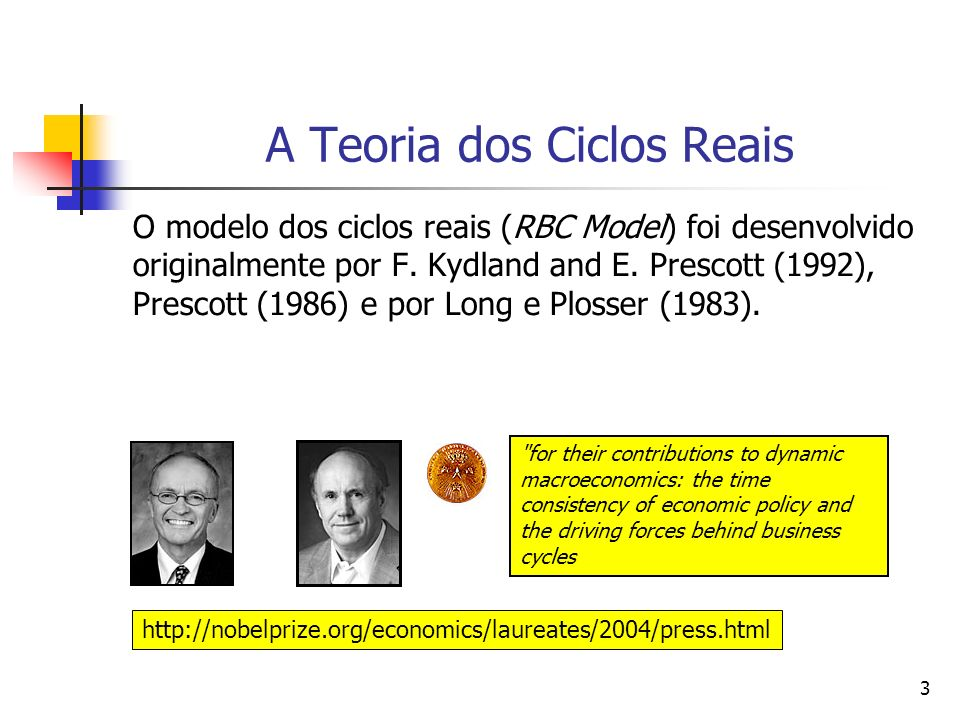 3 A Teoria dos Ciclos Reais O modelo dos ciclos reais (RBC Model) foi desenvolvido originalmente por F. Kydland and E. Prescott (1992), Prescott (1986