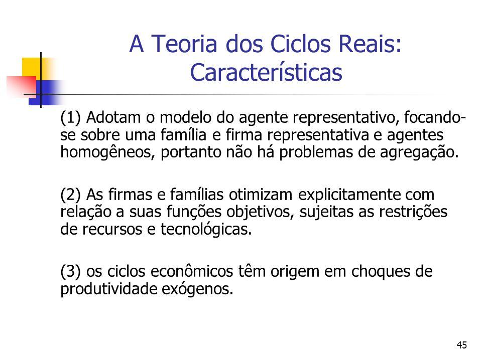 45 A Teoria dos Ciclos Reais: Características (1) Adotam o modelo do agente representativo, focando- se sobre uma família e firma representativa e age