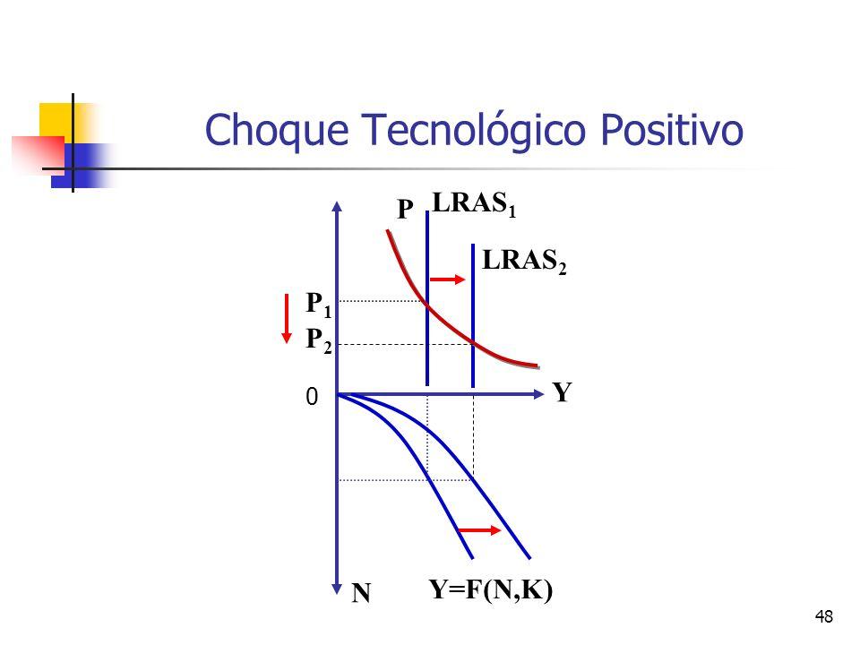 48 Choque Tecnológico Positivo LRAS 1 P N Y Y=F(N,K) LRAS 2 P1P1 P2P2 0