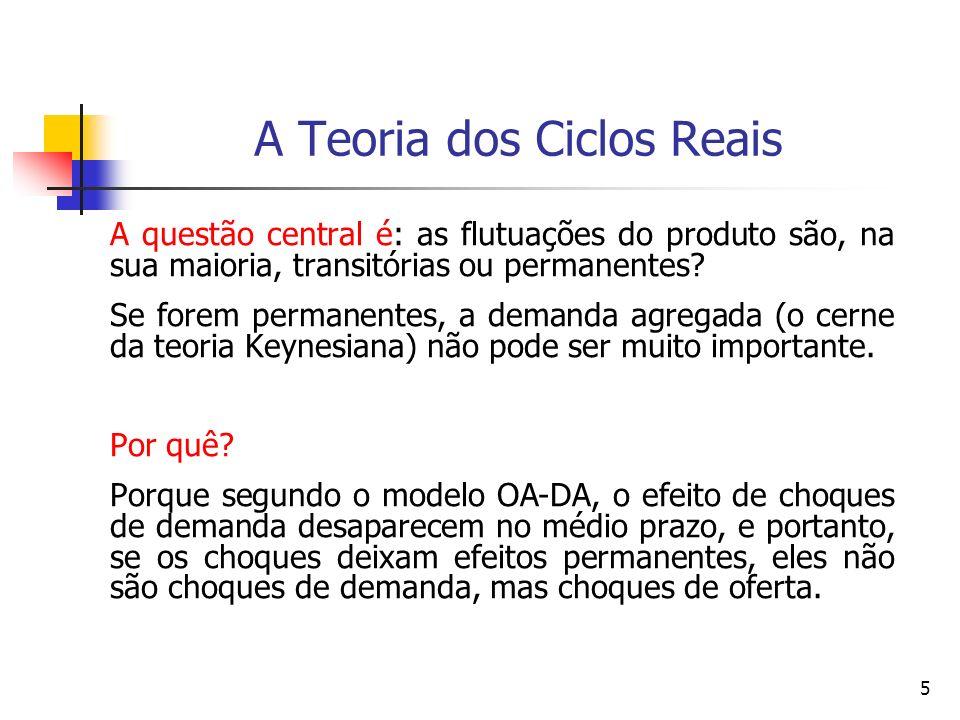 5 A Teoria dos Ciclos Reais A questão central é: as flutuações do produto são, na sua maioria, transitórias ou permanentes? Se forem permanentes, a de