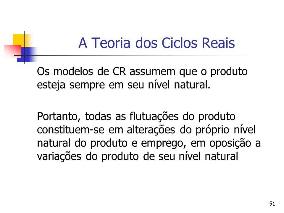 51 A Teoria dos Ciclos Reais Os modelos de CR assumem que o produto esteja sempre em seu nível natural. Portanto, todas as flutuações do produto const