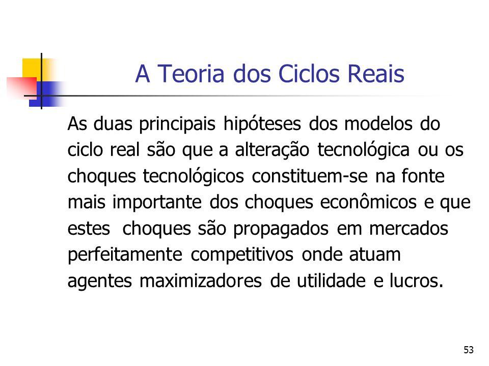 53 A Teoria dos Ciclos Reais As duas principais hipóteses dos modelos do ciclo real são que a alteração tecnológica ou os choques tecnológicos constit
