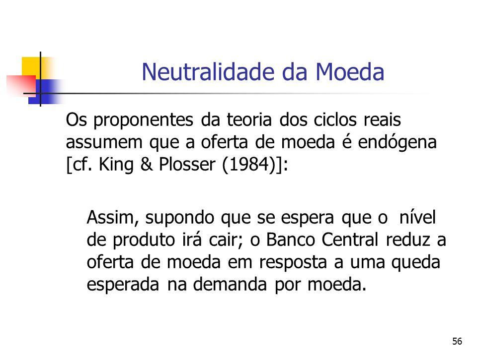 56 Neutralidade da Moeda Os proponentes da teoria dos ciclos reais assumem que a oferta de moeda é endógena [cf. King & Plosser (1984)]: Assim, supond