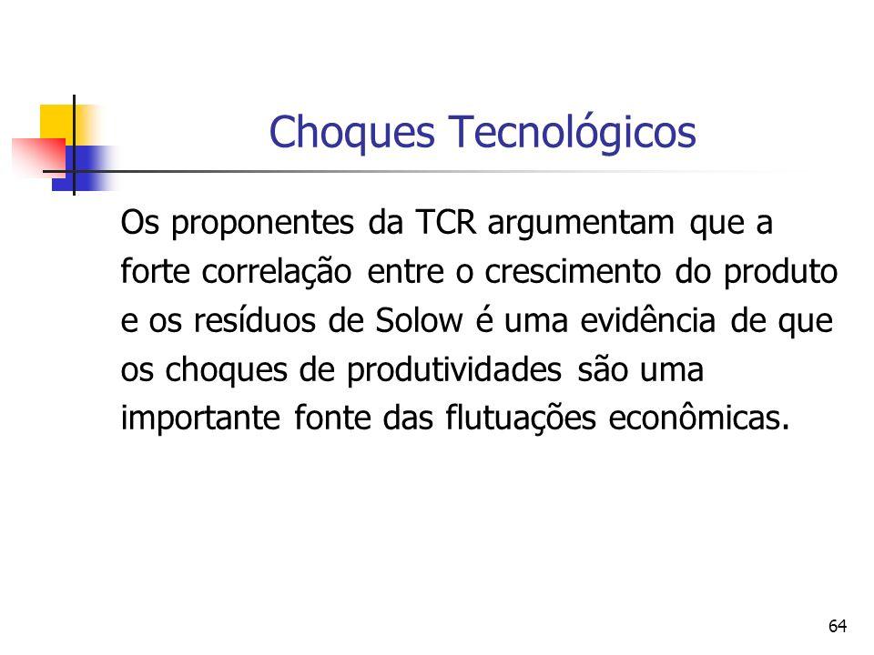 64 Choques Tecnológicos Os proponentes da TCR argumentam que a forte correlação entre o crescimento do produto e os resíduos de Solow é uma evidência