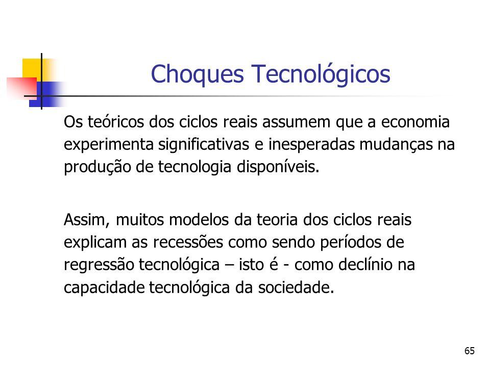 65 Choques Tecnológicos Os teóricos dos ciclos reais assumem que a economia experimenta significativas e inesperadas mudanças na produção de tecnologi