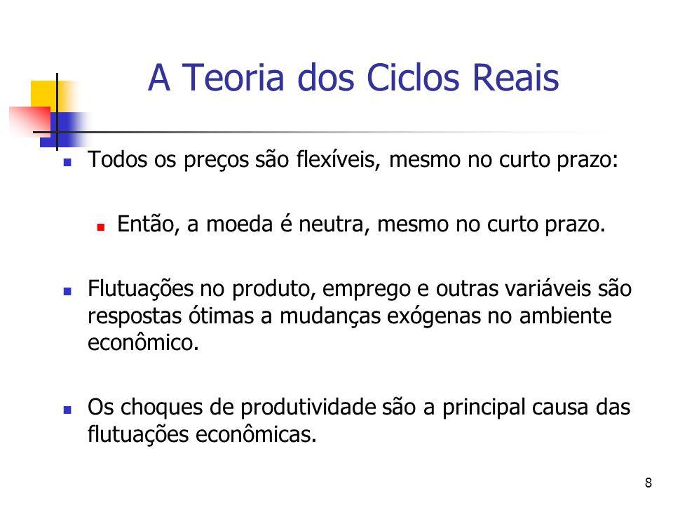8 A Teoria dos Ciclos Reais Todos os preços são flexíveis, mesmo no curto prazo: Então, a moeda é neutra, mesmo no curto prazo. Flutuações no produto,