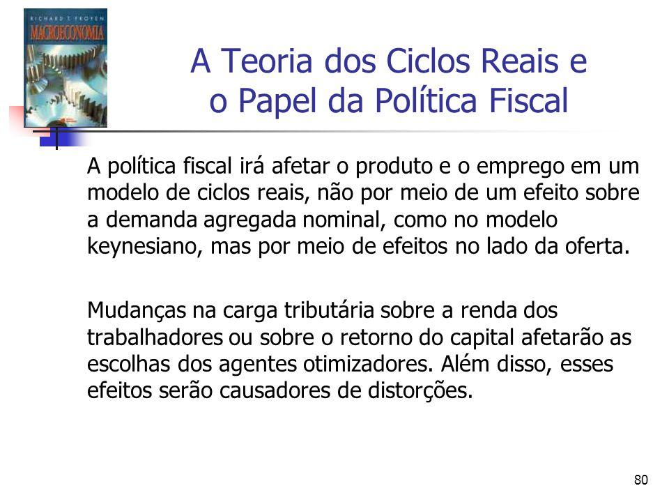 80 A Teoria dos Ciclos Reais e o Papel da Política Fiscal A política fiscal irá afetar o produto e o emprego em um modelo de ciclos reais, não por mei