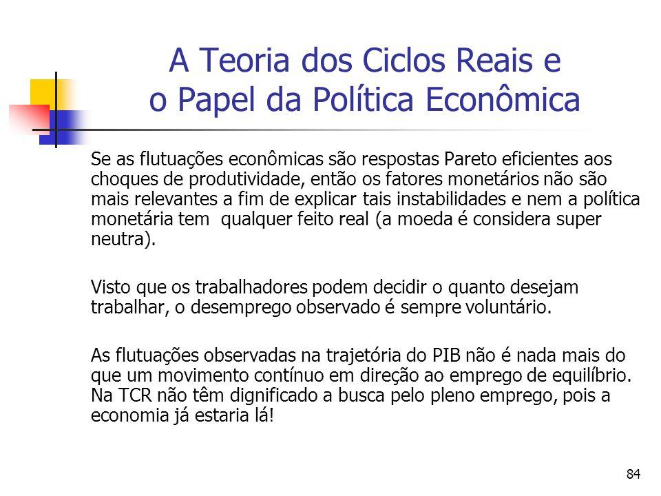 84 A Teoria dos Ciclos Reais e o Papel da Política Econômica Se as flutuações econômicas são respostas Pareto eficientes aos choques de produtividade,