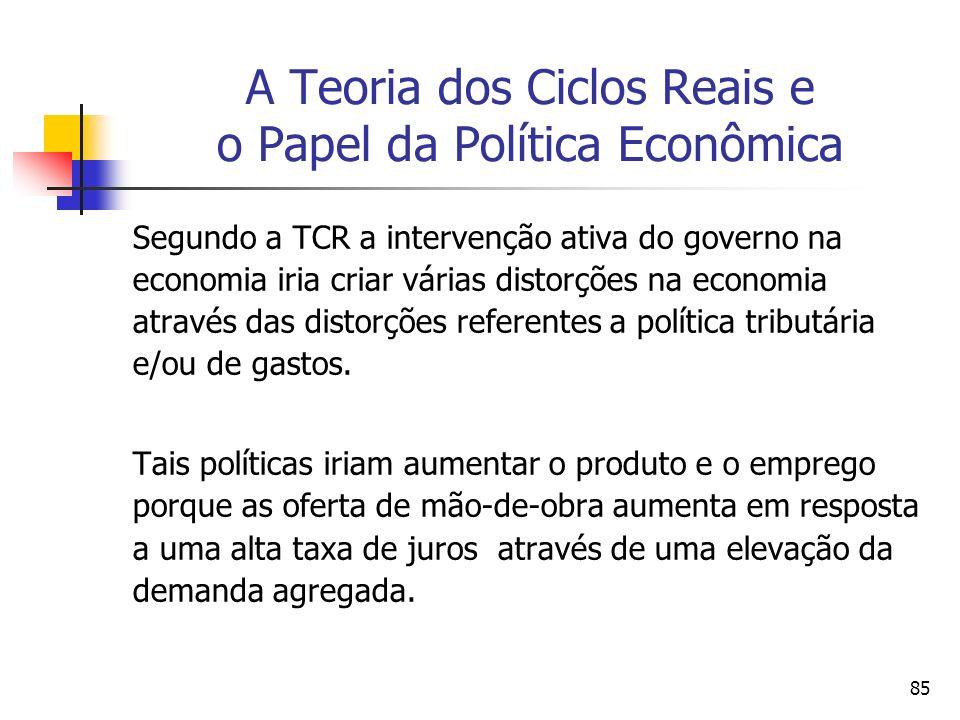 85 A Teoria dos Ciclos Reais e o Papel da Política Econômica Segundo a TCR a intervenção ativa do governo na economia iria criar várias distorções na
