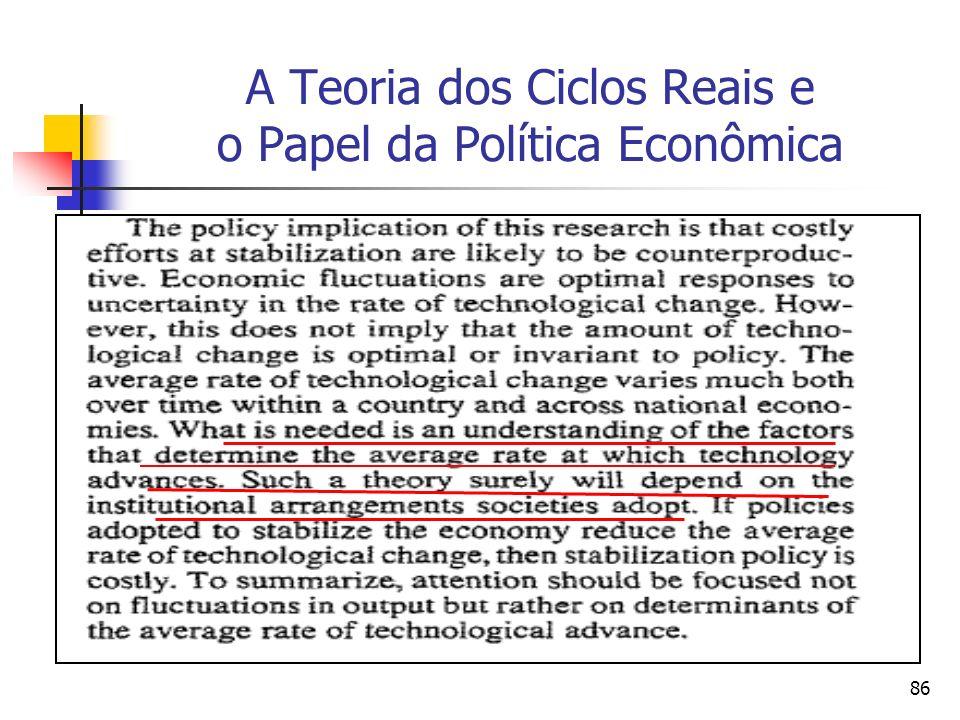 86 A Teoria dos Ciclos Reais e o Papel da Política Econômica
