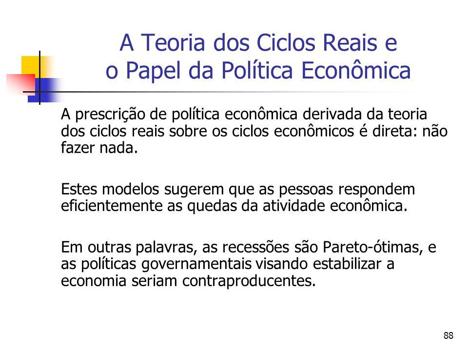 88 A Teoria dos Ciclos Reais e o Papel da Política Econômica A prescrição de política econômica derivada da teoria dos ciclos reais sobre os ciclos ec