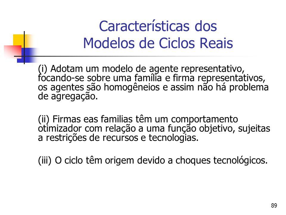 89 Características dos Modelos de Ciclos Reais (i) Adotam um modelo de agente representativo, focando-se sobre uma família e firma representativos, os