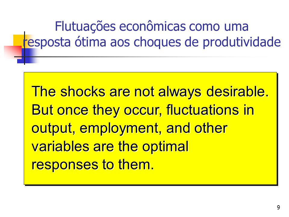 9 Flutuações econômicas como uma resposta ótima aos choques de produtividade The shocks are not always desirable. But once they occur, fluctuations in