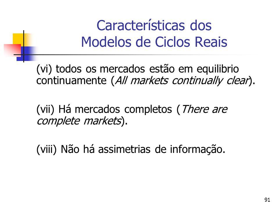 91 Características dos Modelos de Ciclos Reais (vi) todos os mercados estão em equilibrio continuamente (All markets continually clear). (vii) Há merc