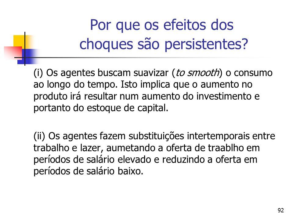 92 Por que os efeitos dos choques são persistentes? (i) Os agentes buscam suavizar (to smooth) o consumo ao longo do tempo. Isto implica que o aumento