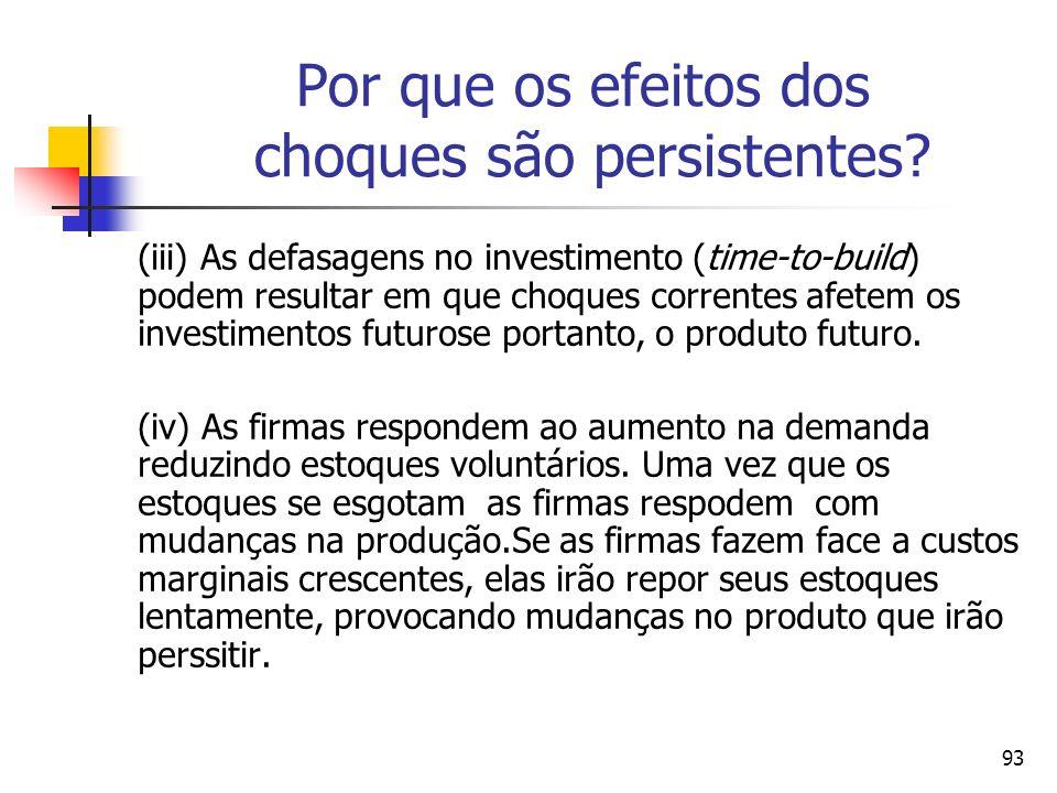 93 Por que os efeitos dos choques são persistentes? (iii) As defasagens no investimento (time-to-build) podem resultar em que choques correntes afetem