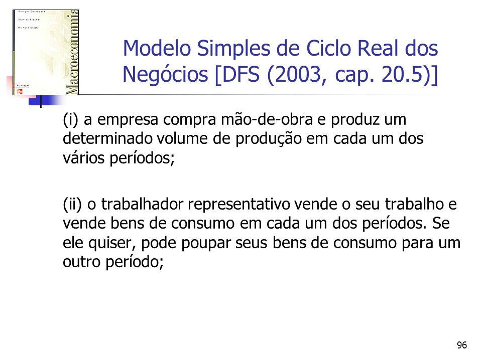 96 Modelo Simples de Ciclo Real dos Negócios [DFS (2003, cap. 20.5)] (i) a empresa compra mão-de-obra e produz um determinado volume de produção em ca
