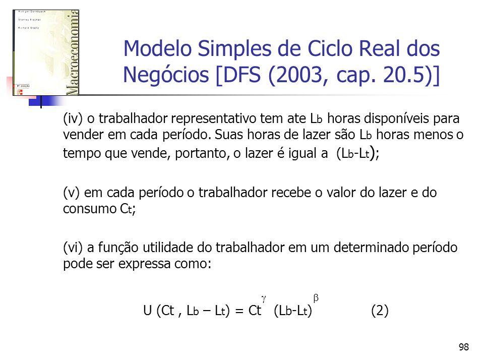 98 Modelo Simples de Ciclo Real dos Negócios [DFS (2003, cap. 20.5)] (iv) o trabalhador representativo tem ate L b horas disponíveis para vender em ca