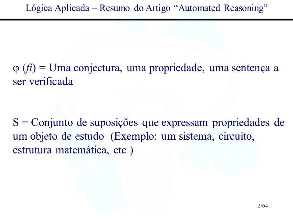 2/64 Lógica Aplicada – Resumo do Artigo Automated Reasoning (fi) = Uma conjectura, uma propriedade, uma sentença a ser verificada S = Conjunto de supo