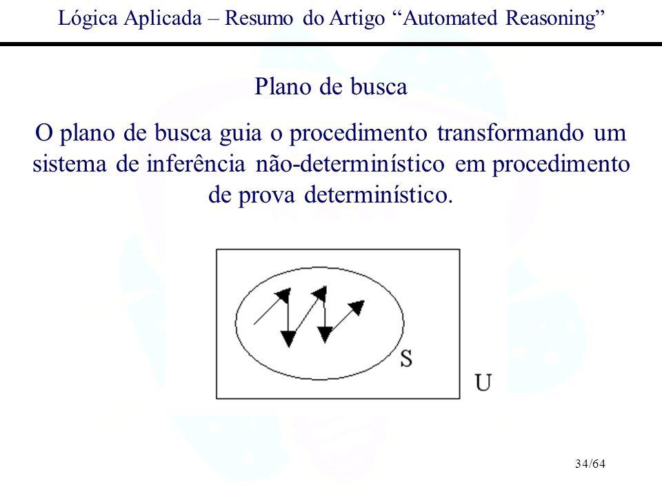 34/64 Lógica Aplicada – Resumo do Artigo Automated Reasoning Plano de busca O plano de busca guia o procedimento transformando um sistema de inferênci
