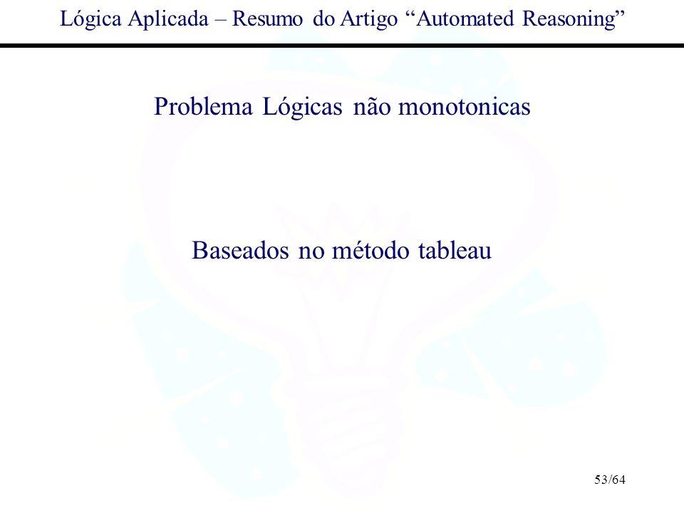 53/64 Lógica Aplicada – Resumo do Artigo Automated Reasoning Problema Lógicas não monotonicas Baseados no método tableau