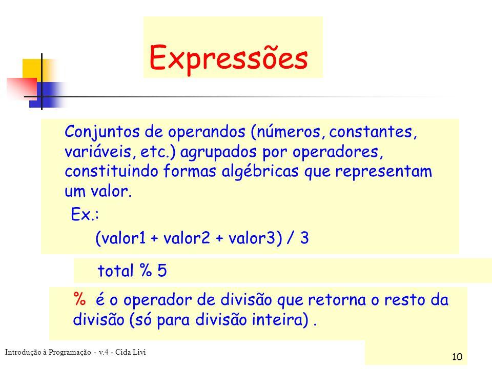 Introdução à Programação - v.4 - Cida Livi 10 Expressões Conjuntos de operandos (números, constantes, variáveis, etc.) agrupados por operadores, const