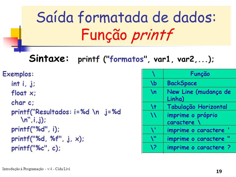 Introdução à Programação - v.4 - Cida Livi 19 Sintaxe: printf (