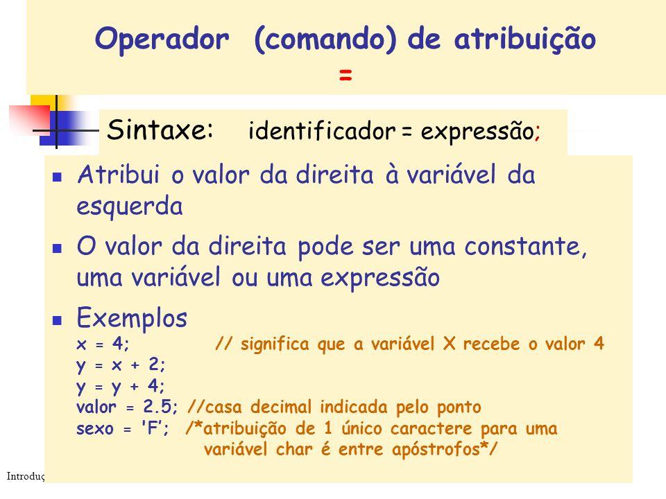 Introdução à Programação - v.4 - Cida Livi Sintaxe: identificador = expressão; Operador (comando) de atribuição = Atribui o valor da direita à variáve