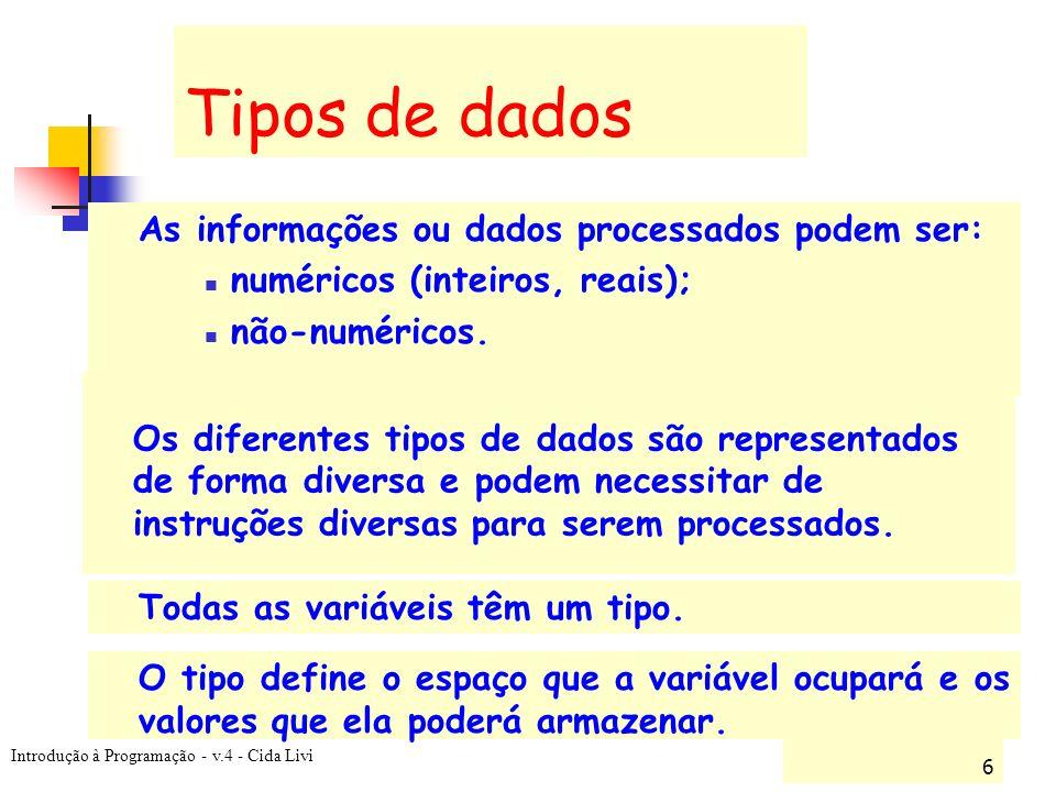 Introdução à Programação - v.4 - Cida Livi 6 Tipos de dados As informações ou dados processados podem ser: numéricos (inteiros, reais); não-numéricos.