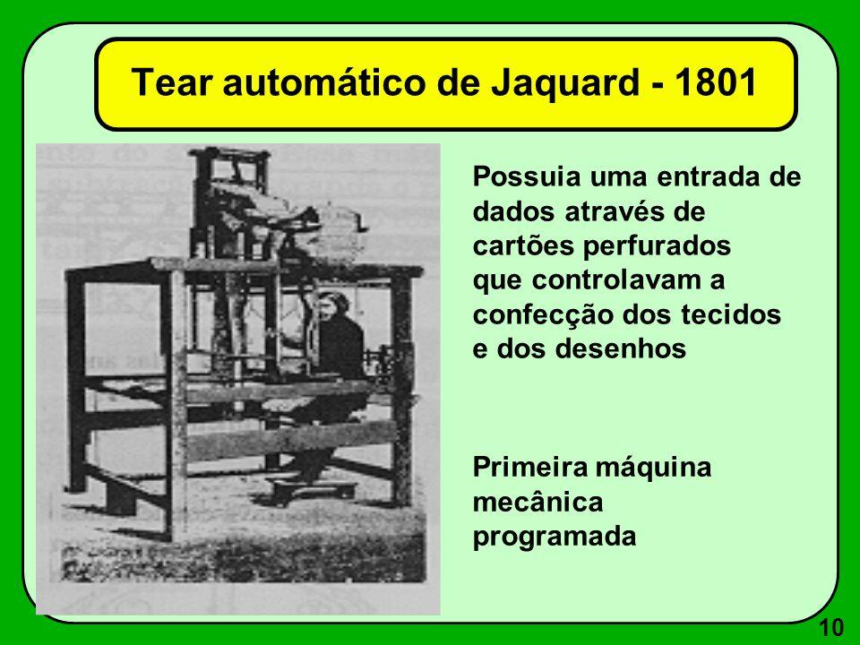 10 Possuia uma entrada de dados através de cartões perfurados que controlavam a confecção dos tecidos e dos desenhos Primeira máquina mecânica programada Tear automático de Jaquard - 1801